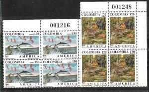 #1939 COLOMBIA 1990 UPAEP AMERICA FAUNA BIRD FISH TIGER YV AE 823-4 BLOC x4 MNH