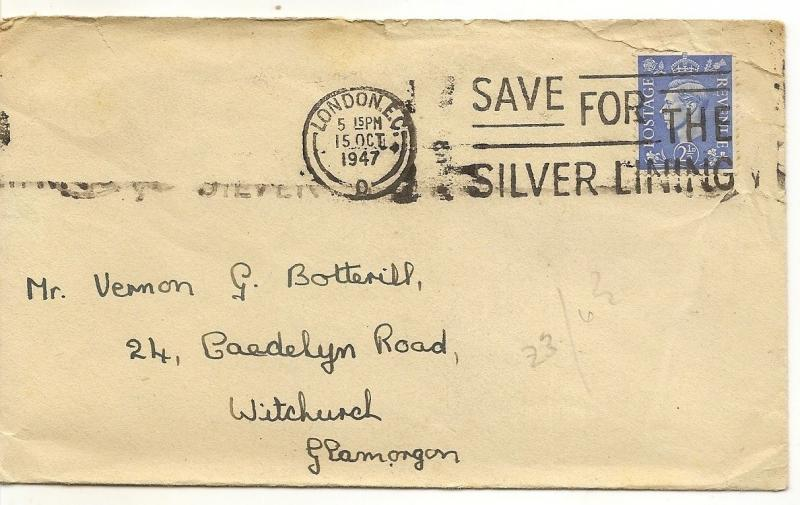 GB 1947 2.5d Cover 'Save for the Silver Lining'