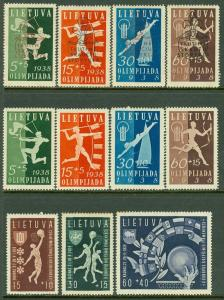 EDW1949SELL : LITHUANIA 1938-39 Sc #B43-54 Sports. 3 Cplt sets. VF MOG Cat $125.