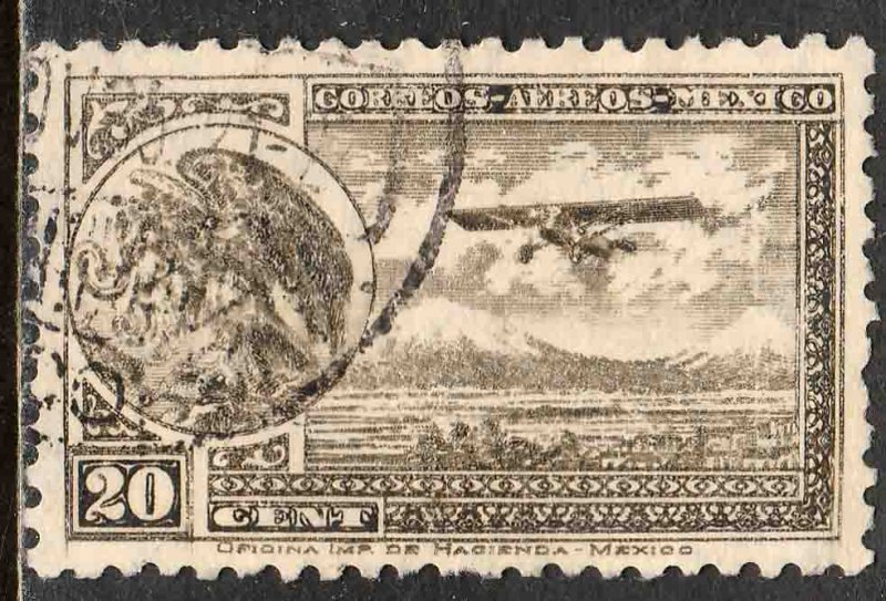 MEXICO C62, 20¢ ARMS & PLANE RE-ISSUE. USED.  F-VF. (1008)
