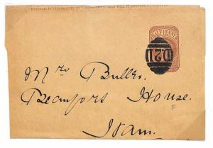 N6 GB Cover 1890 Superb *D.21* Numeral RICHMOND Surrey 3VOS WITH DOT Wrapper