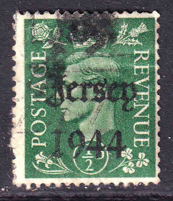 GREAT BRITAIN 1/2p LOCAL CHANNEL ISLANDS JERSEY 1944 OVERPRINT USED F/VF