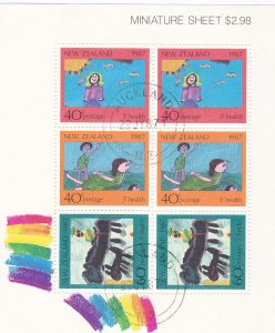 SC125a New Zealand 1987 Health Children's Paintings miniature sheet used