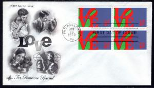 US 1475 Love Block of Four Artcraft U/A FDC