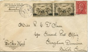 15 cent airmail rate to BRITISH GUIANA 1934 Medallion issue from Canada