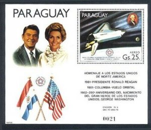 HERRICKSTAMP PARAGUAY Sc.# C491 Ronald & Nancy Reagan Space Shuttle S/S