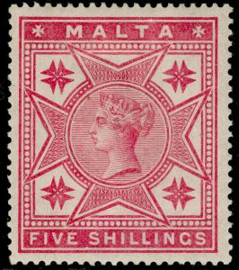 MALTA SG30, 5s rose, M MINT. Cat £110.