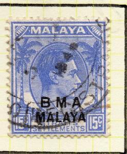 Malaya Straights Settlements 1945 Early Shade of Used 12c. BMA Optd 307997