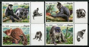 Angola 2018 MNH Primates Bushbabies Colobus Monkeys 4v Set Wild Animals Stamps