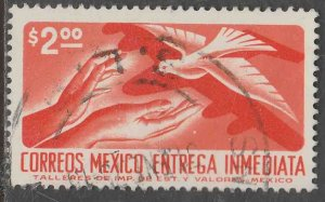 MEXICO E25, $2.00 1950 Def 9th Issue Unwmk Glazed paper USED. F-VF. (1484)