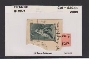 FRANCE #CP-7 STAMP USED  ON POST CARDLOT#F21