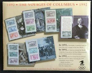 US MNH #2624-2629 Columbus Sheets (5) SCV $30.50 L35