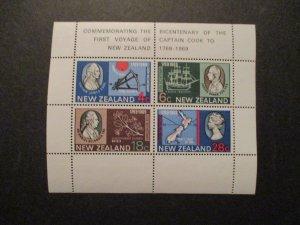 1969 New Zealand S# 434a, Capt Cook Souvenir Stamp Sheet 4v MNH OG vf+