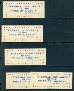 5 VINTAGE ETERNAL VIGILANCE IS THE PRICE OF LIBERTY POSTER STAMPS AMERICA L576