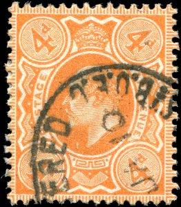 Great Britain - Scott #144 - 1909 KE VII 4d Pale Orange - Used