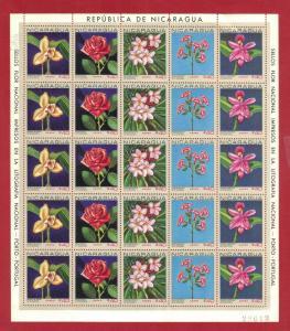 NICARAGUA SC# C626-630  1967 40c FLOWERS SHEET OF 25  SEE SCAN