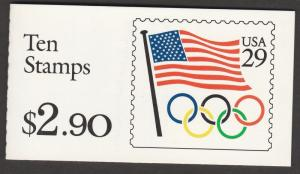 US 2528a BK186 US Flag Olympic Rings 29c booklet (10 stamps) MNH 1991