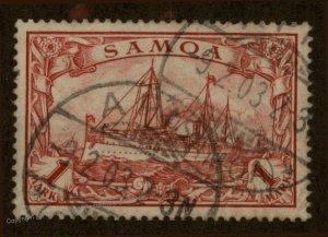 Germany Colonies Samoa Mi16 APIA Cancel 1 Mark 1M Hohenzollern Yacht Stamp 95201