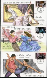 #3840-43 (4) DIFF AMER. CHOREGRAPHERS COLLINS HAND PAINTED FDC CACHET BP7637
