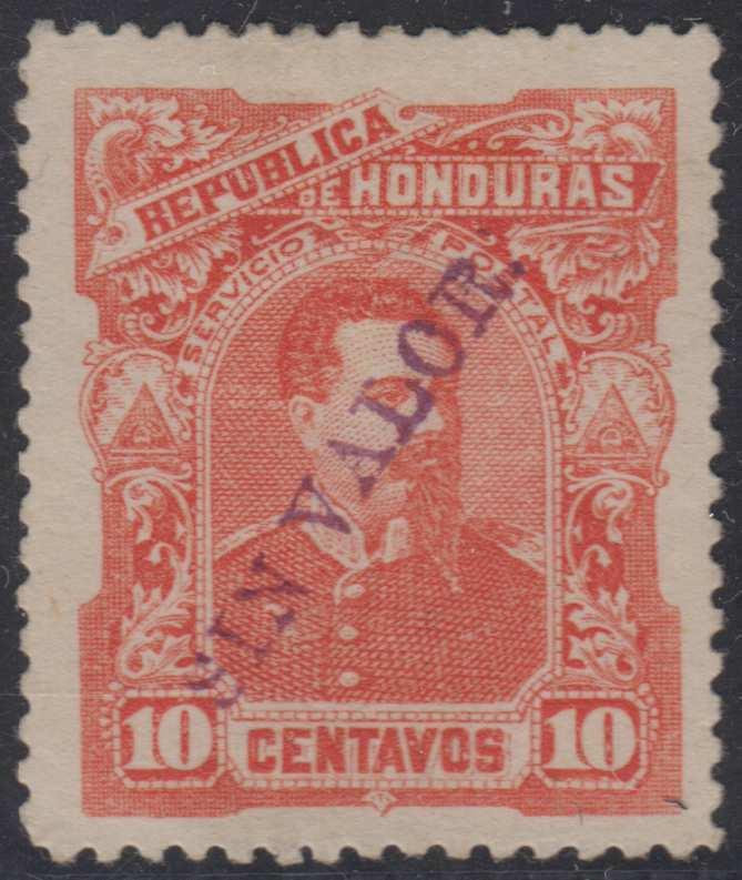 HONDURAS 1891 BOGRAN Sc 54 PERF PROOF ISSUED COLOR SIN VALOR HS HINGED MINT