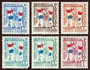 PARAGUAY Scott #C233 to #C238 1962 Soldier and Flags unused OG H