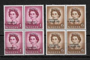 St Lucia 1967 Statehood RARE Black Overprint Blocks,Sc # 217,XF MNH**