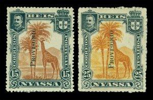 NYASSA Company 1903 GIRAFFE - Provisional overprint set  Scott # 47-48 mint MH