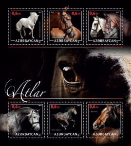 AZERBAIJAN 2017 SHEET HORSES azrb17213a