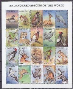 Tanzania, Scott cat. 1898 a-t. Endangered  & Extinct Species sheet of 20. ^