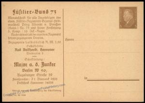 Germany 1928 Fusilier Regiment Prinz Albrecht Veterans Private Ganzsachen  68523