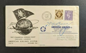 1945 Bournemouth England First Flight Cover Chicago Illinois Pilot Signed