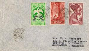 French Equatorial Africa 25c Phoenix Overprinted 2F.40c, 3.60F Gabon Forest, ...