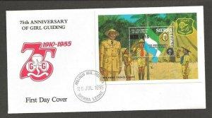 1985 Sierra Leone Girl Guides 75th anniv SS revalued FDC