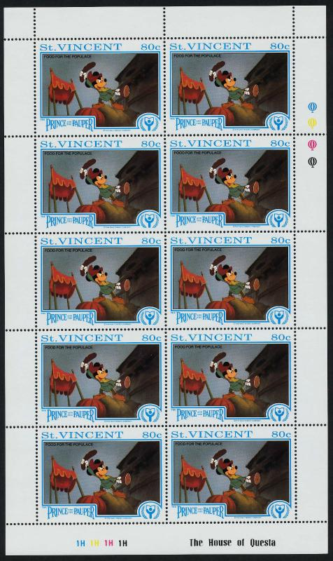 St Vincent 1512 sheet MNH Disney, The Prince & The Pauper, Food for the Populace