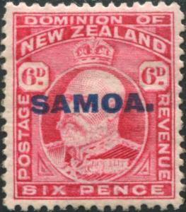 Samoa 1914 SG119 6d carmine KEVII with SAMOA. ovpt MNH