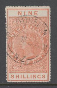 New Zealand Sc AR41, SG F86, used. 1906 9sh orange QV Postal Fiscal, sound