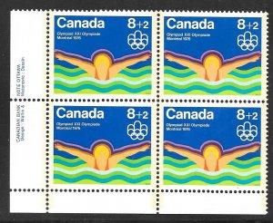 Canada B4i: 8 + 2c Swimming, plate block, MNH, VF