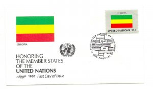 United Nations #482 Flag Series 1986, Ethiopia, Artmaster, FDC