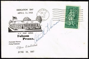 US STAMP FOLSOM PENNA.  POST OFFICE DEDICATION CACHET COVER POSTER MASTER SIGNED