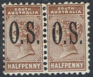 SOUTH AUSTRALIA 1891 QV OS 1/2D PAIR PERF 13