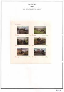 SCOTLAND - GRUNAY - 1982 - Steam Locos #7 - Imperf 6v Sheet - MLH