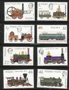Poland Scott 2143-2150 MNH** 1976 Locomotive set
