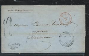 GUADELOUPE (PP2709B) 1854 PRESTAMP FROM GUADELOUPE TO FRANCE