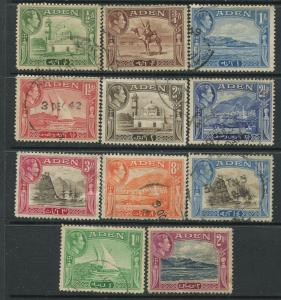 STAMP STATION PERTH Aden #16-25 KGVI Definitive Issue 1937 Used  CV$12.00.