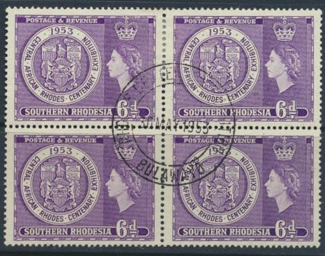 Southern Rhodesia  SG 76 SC# 79  FU block of 4 - day of issue cancel Rhodes E...
