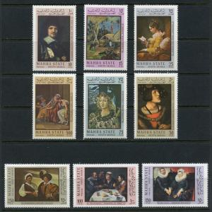 MAHRA STATE SOUTH ARABIA SET OF 9 GREAT MASTERS PAINTING STAMPS NH