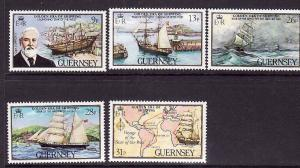 Guernsey-Sc#269-73-unused NH set-Star of the West-Ships 1983