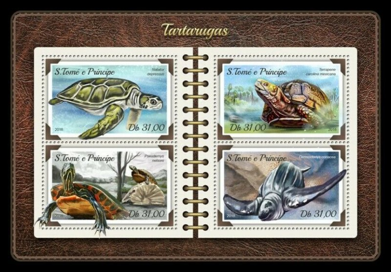 HERRICKSTAMP NEW ISSUES ST. THOMAS Turtles Sheetlet