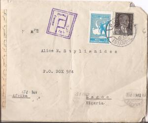 Turkey 1943 to Lagos Nigeria censored in Egypt VERY UNUSUAL (ban)
