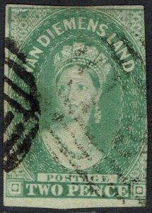 TASMANIA 1856 QV CHALON 2D IMPERF NO WMK USED